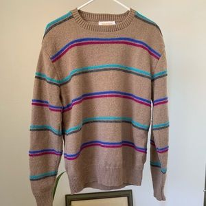 Vintage 70s Jantzen Tan Stripe Wool Sweater